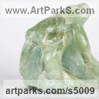 Reptiles Sculpture and Amphibian Sculpture by sculptor artist Cynthia Lewis titled: 'Essence of Frog (Carved stone Semi abstract Amphibian statues/statue)' in Green soapstone
