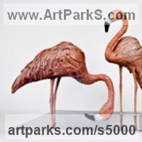 Hyperrealistic Sculpture by sculptor artist Cynthia Lewis titled: 'Flamingos (Pink bronze Feeding Standing Lifelike sculptures/statuette)' in Bronze on polished steel base