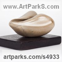 Modern Abstract Contemporary Avant Garde Sculpture or Statues or statuettes or statuary by sculptor artist Cynthia Lewis titled: 'Horn (LittleCarved Brown abstract Soap stone Indoors statuettes)' in Brown soapstone on wood base