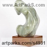 Modern Abstract Contemporary Avant Garde Sculpture or Statues or statuettes or statuary by sculptor artist Cynthia Lewis titled: 'Lost (Small abstract Minimalist Modern Carved stone sculptures)' in Green soapstone on a wood base