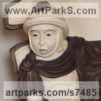 Christian Eclesiastical Sculpture, Carvings Bas Reliefs and Statues by sculptor artist Dana Nachlinger titled: 'SAINT FLORIAN (statue in Armour Standing Wooden Carved sculpture)' in Lime tree wood