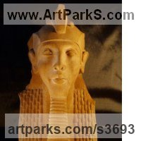 Historical Character Statues / Sculpture by sculptor artist David Buck titled: 'Egyptian Pharaoh Akhenaton (Kings Bust 0r Head statue)' in Reconstituted sandstone