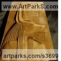 Classical Style Sculpture and Statues by sculptor artist David Buck titled: 'Egyptian Anubis Block (Small Bas Relief Cast sculptures)' in Reconstituted sandstone