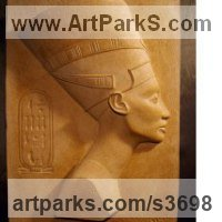 Historical Character Statues / Sculpture by sculptor artist David Buck titled: 'Queen Nefertiti Wall Plaque (Bas Relief Panel statue)' in Reconstituted sandstone