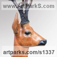Field Sports, Game Birds and Game Animals Sculpture by sculptor artist David Cemmick titled: 'Roe Buck (bronze Deer Head/Bust/Mask sculptures/statues)' in Bronze