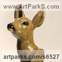 Deer Sculpture by sculptor artist David Cemmick titled: 'Roe Deer Doe (bronze female life size h Head/Bust/Mask statue)' in Bronze
