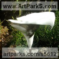 Conservatory Sculpture by sculptor artist David Corbett titled: 'Earls Court Arum Lily (Larger than Life White Fiberglass statue)' in Fibreglass, copper and concrete