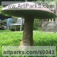 Tree Plant Shrub Bonsai sculpture statue statuette by sculptor artist David Corbett titled: 'Giant Stone Mushroom' in Composite stone