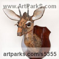 Deer Sculpture by sculptor artist David Farrer titled: 'Kirks Dik Dik (Papier Mache Wall Mounted African Antelope Head Masks)'