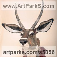 Deer Sculpture by sculptor artist David Farrer titled: 'Waterbuck (Papier Mache Wall Trophy Animal Head/Mask)'