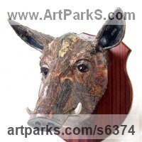 Pigs, Sows, Boars, Hogs, Piglets Sounders Sculpture or Statues by sculptor artist David Farrer titled: 'Wild Boar (Wall Mounted Trophy Head Amusing sculpture)' in Papier mache