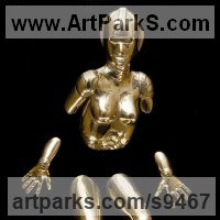 Emerging Form or Face or Feature sculpture statue statuette for sale by sculptor artist David G Smith titled: 'EMERGENCE I Little Bronze Robotic nude sculptures' in Bronze and acrylic