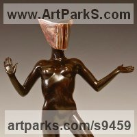 Ballet Dancer Ballerina Classical Dance Sculpture Statues statuettes Figurines by sculptor artist David G Smith titled: 'MASQUERADE 3 (nude Masked Sensual Girl Dancer statue)' in Bronze