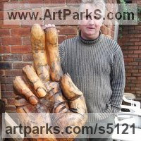Figurative Public Art Sculpture by sculptor artist David Gross titled: 'Blessing (Carved WoodenTreeTrunk Outsize Hand statues)' in Cherry