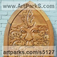 Bas Reliefs or Low Reliefs by sculptor artist David Gross titled: 'Greenman Gate1 (Carved Wood Gate Bas Relief Mythical Traditional Face)' in Oak