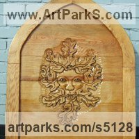 Celtic Knot Work and Traditional Sculpture by sculptor artist David Gross titled: 'Greenman Gate2 (Carved Wooden Bas Relief Plaque garden/Yard Art)' in Oak