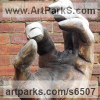 Figurative Public Art Sculpture by sculptor artist David Gross titled: 'Hand with spider (Giant Outsize Carved Wood Hand sculpture/carving)' in Elm