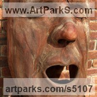 Mask, Wall Hung Faces and Part Heads by sculptor artist David Gross titled: 'Open Mouth (Large Wooden Face Carving in Elm sculpture/Carving/statues)' in Elm