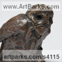 European Animals Birds Reptiles Sculpture Statues statuettes by sculptor artist David Mayer titled: 'Tawny Owl (Little Perched Bronze statuettes statues)' in Bronze