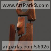 Carved wood Sculpture by sculptor artist David Sirbiladze titled: 'Lady in Wood (Upright Naked Woman standing statues)' in Wood. metal. stone