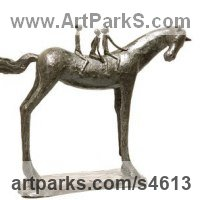 Animal Form: Abstract Sculpture by sculptor artist Dawn Benson titled: 'Angels on Horseback (children on Stylised horseback statue)' in Bronze resin