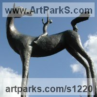 Stylized Animals Sculpture by sculptor artist Dawn Benson titled: 'Team Spirit (Horse and Child Rider garden statue statuette sculpture)' in Bronze