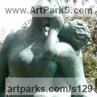 Love / Affection Sculpture by sculptor artist Dawn Benson titled: 'The Secret (Small bronze Mother and Child Whispering bronze statues)' in Bronze