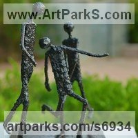 Small / Little Abstract Contemporary Sculpture / Statues by sculptor artist Dawn Boys-Stones titled: 'The Beautiful Game (abstract Steel Football sculpture statue statuette)' in Welded mild steel