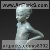 Ballet Dancer Ballerina Classical Dance Sculpture Statues statuettes Figurines by sculptor artist Deon Duncan titled: 'Next in Line (Small Young Girl Ballerina statuette)' in Bronze
