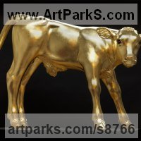 Precious Metals Animal Sculpture Statues statuettes ornaments by sculptor artist Dido Crosby titled: 'Golden Calf (Gilded Carved Wood life size sculptures)' in Tulip wood, glass eyes, gold leaf