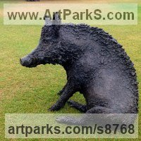 Pigs, Sows, Boars, Hogs, Piglets Sounders Sculpture or Statues by sculptor artist Dido Crosby titled: 'Sitting Boar (Sitting Seated bronze life size statues)' in Bronze