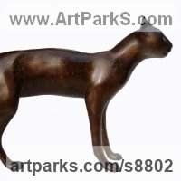 Cats Sculpture by sculptor artist Dido Crosby titled: 'Smooth Cat (life size Walking Standing sculpture statue)' in Bronze