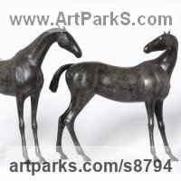 Art Inspired by Great Paintings by sculptor artist Dido Crosby titled: 'Two Horses (Minimalist Stylised Bronze sculpture statue)' in Bronze