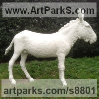 Horses Outdoors, Outside, Life Size, Big, Large, Huge Sculpture Statues memorials commissions custom made by sculptor artist Dido Crosby titled: 'White Donkey (life size Standing sculptures statues)' in Bronze or grp