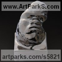 Polychrome Sculpture by sculptor artist Dionisio Cimarelli titled: 'Mask N.15 (Metallic Finnish Child Baby`s Face Bust Porcelain statue)' in Chinese porcelain