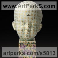 Polychrome Sculpture by sculptor artist Dionisio Cimarelli titled: 'Portrait of child N.4 (China Child`s Head/Bust statuette/statue fors)' in Chinese porcelain