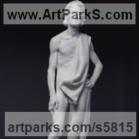 Eclesiastical Christian Sculpture, Carvings Bas Reliefs and Statues by sculptor artist Dionisio Cimarelli titled: 'San Giovanni Battista (Carved marble stone statue John the Baptist statue)' in Carrara marble