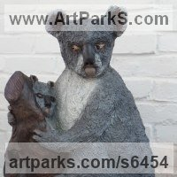 Adult with Young Animal Bird, Reptile or Amphibian, Fish Statues by sculptor artist Dreene Cotton titled: 'KYLIE the KOALA (Bronze resin bear and Cub statue/sculptures for sale)' in Bronze resin