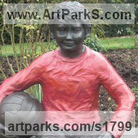 Sculpture of Sport in General by sculptor artist Dreene Cotton titled: 'Thomas a substitute Again (Bronze resin Boy Footballer sculpture/statue)' in Bronze resin