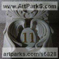 Carved and Engraved Lettering Writing Inscriptions Poems Quotations Carving Panels Sculpture by sculptor artist Duncan Park titled: 'Ornate house number (Carved Gilded sculpture statue panel carving)' in Portalnd stone