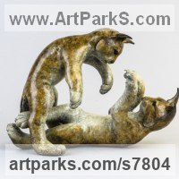 Animals and Birds at Play Sculpture Statues by sculptor artist Eddie Hallam titled: 'Lynx Kittens at Play' in Bronze