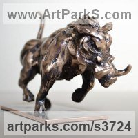 Pet and Animal Portrait Custom or Bespoke or Commission Commemorative or Memoriaql sculpture statue by sculptor artist Edward Waites titled: 'Running Warthog' in Bronze