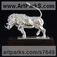 Precious Metals Animal Sculpture Statues statuettes ornaments by sculptor artist Edward Waites titled: 'Running Warthog (Silver Small Charging Boar statues)' in Sterling silver