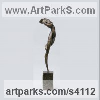 Stylised Nude statue sculpture statuette ornament by sculptor artist Elisabeth Hadley titled: 'Tempest (nude Woman Swirling Dancer Bronze sculptures)' in Bronze