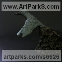 Water Birds / Water Fowl / Seabirds / Waders by sculptor artist Elliot Channer titled: 'Kingfisher (life size In Flight Hunting sculpture/statue/statuette)' in Bronze resin