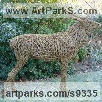Willow, Bark and moss sculpture / statue / statuette by sculptor artist Emma Walker titled: 'life size WILLOW STAG' in Willow/steel bar.