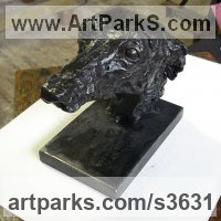 Pet and Animal Portrait Custom or Bespoke or Commission Commemorative or Memoriaql sculpture statue by sculptor artist Emma Walker titled: 'Whippet Head (bronze life size Bust Inside Indoor statue sculptures)' in Bronze and steel base