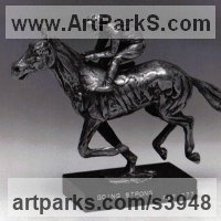 Precious Metals Animal Sculpture Statues statuettes ornaments by sculptor artist Enzo Plazzotta titled: 'Going Strong (small Silver Racehorse sculpture)' in Silver