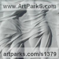Drapery Sculpture Statue Statuettes Carvings by sculptor artist Eppe de Haan titled: 'Le Tre Grazies (3 Graces Carved marble Bas Relief Carvings sculptures)' in Arabescato marble