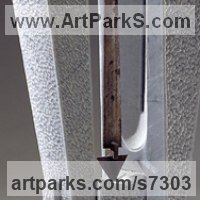 Column Pillar Columnar Stele sculpture statue statuary by sculptor artist Fabrizio Lorenzani titled: 'Pendulum (Modern abstract Contemporary stone Carving sculpture statue)' in Grey carrara bardiglio marble, iron